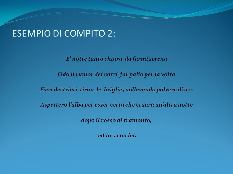 ESEMPIO DI COMPITO 2: