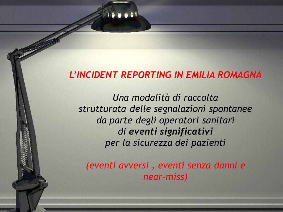 L'INCIDENT REPORTING IN EMILIA ROMAGNA Una modalità di raccolta strutturata delle segnalazioni spontanee da parte degli operatori sanitari di eventi significativi per la sicurezza dei pazienti (eventi avversi , eventi senza danni e near-miss)