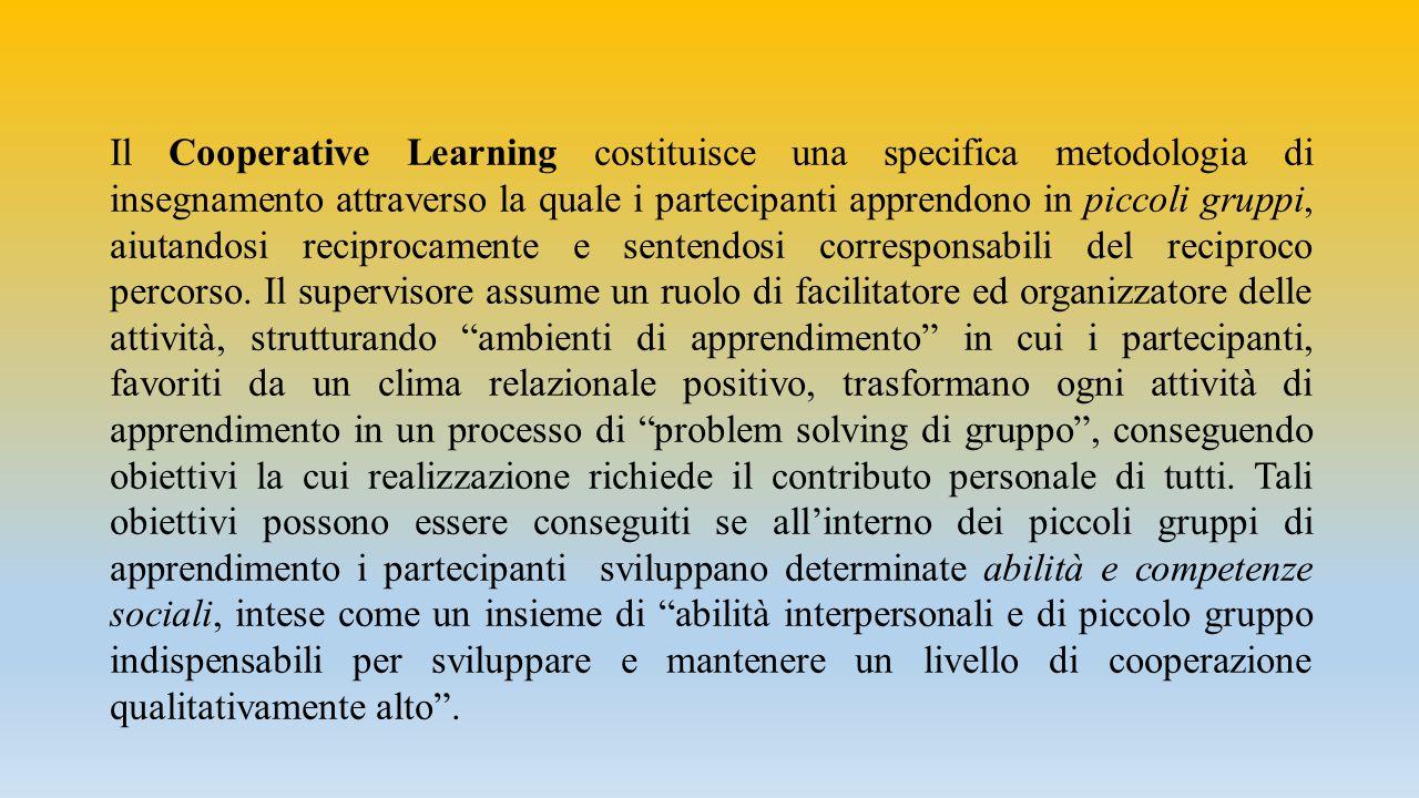 Il Cooperative Learning costituisce una specifica metodologia di insegnamento attraverso la quale i partecipanti apprendono in piccoli gruppi, aiutandosi reciprocamente e sentendosi corresponsabili del reciproco percorso.