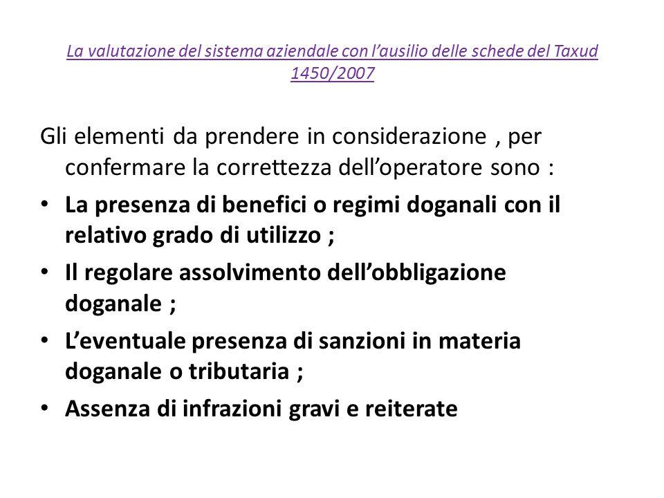 Il regolare assolvimento dell'obbligazione doganale ;