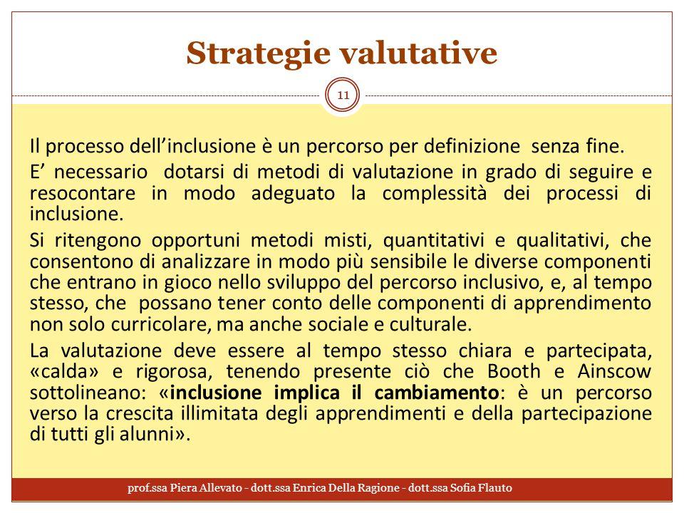 Strategie valutative Il processo dell'inclusione è un percorso per definizione senza fine.