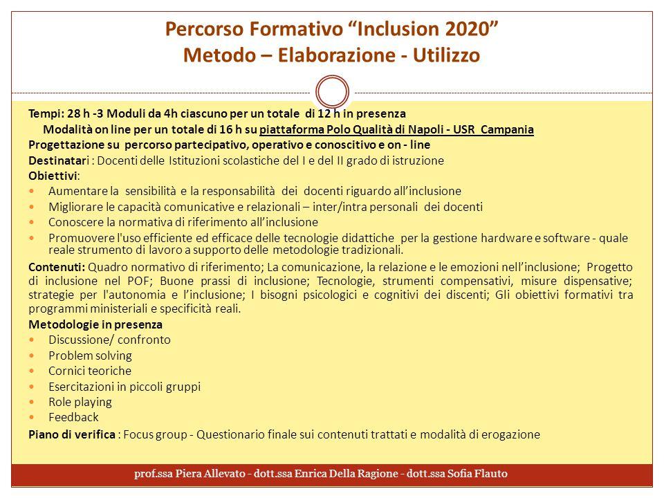 Percorso Formativo Inclusion 2020 Metodo – Elaborazione - Utilizzo