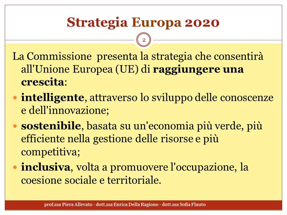 Strategia Europa 2020 La Commissione presenta la strategia che consentirà all Unione Europea (UE) di raggiungere una crescita: