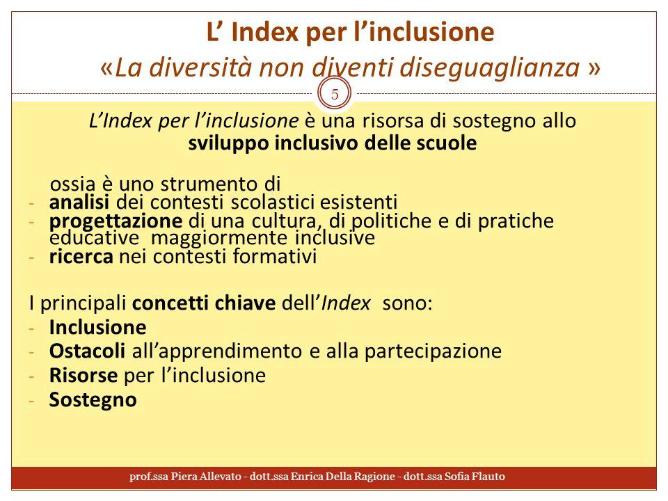 L' Index per l'inclusione «La diversità non diventi diseguaglianza »