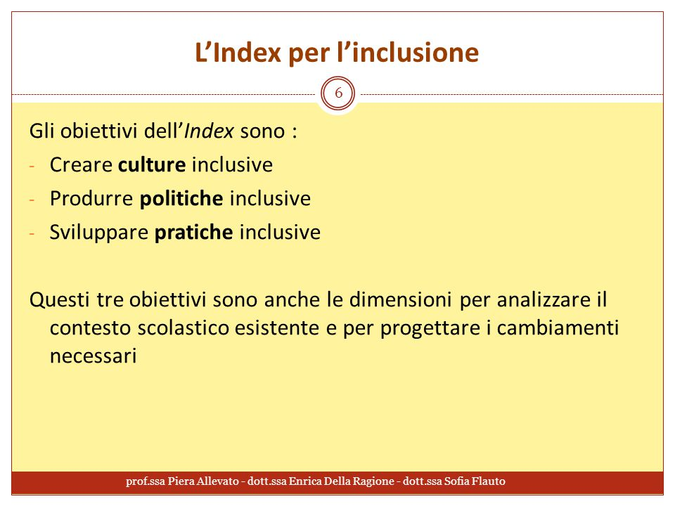 L'Index per l'inclusione
