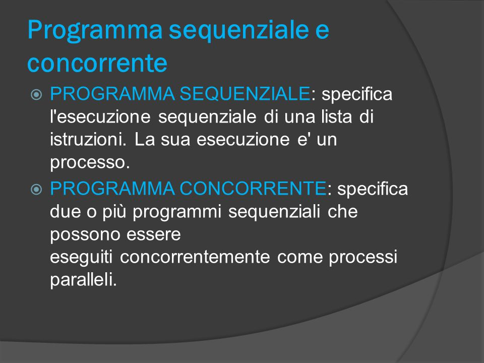 Programma sequenziale e concorrente