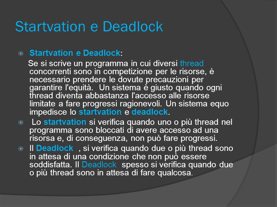 Startvation e Deadlock