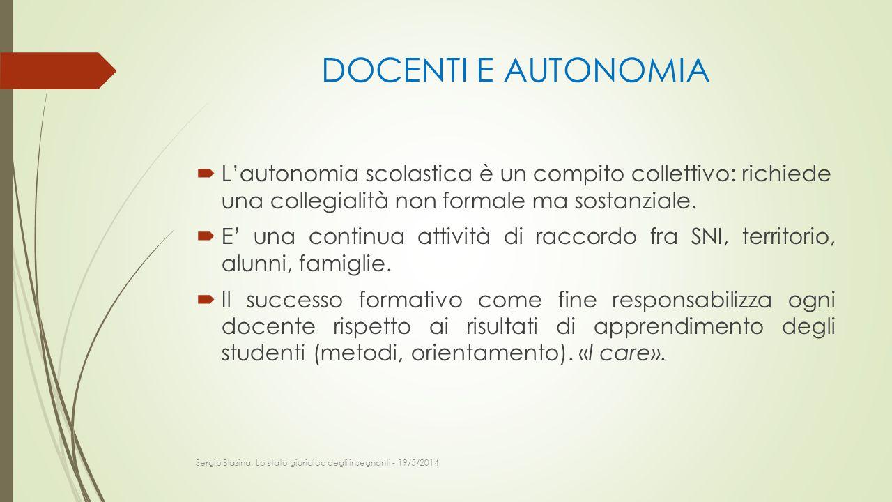 DOCENTI E AUTONOMIA L'autonomia scolastica è un compito collettivo: richiede una collegialità non formale ma sostanziale.