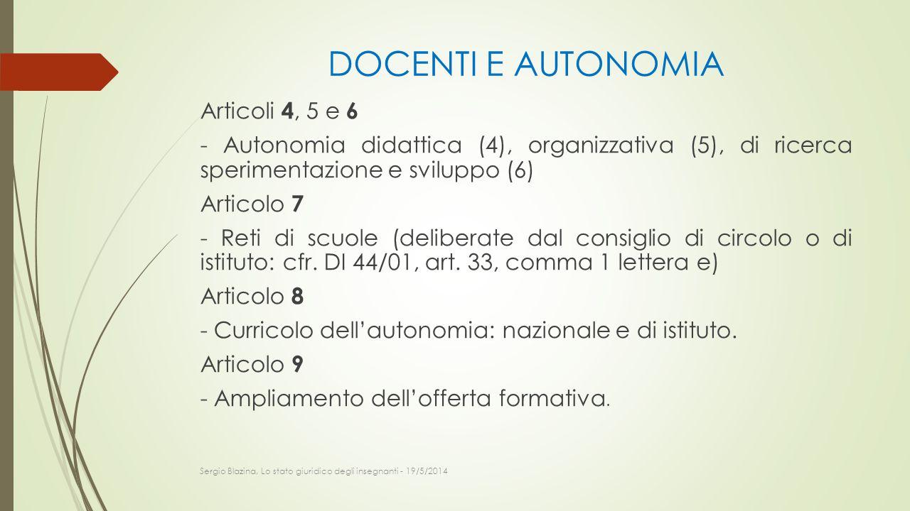 DOCENTI E AUTONOMIA
