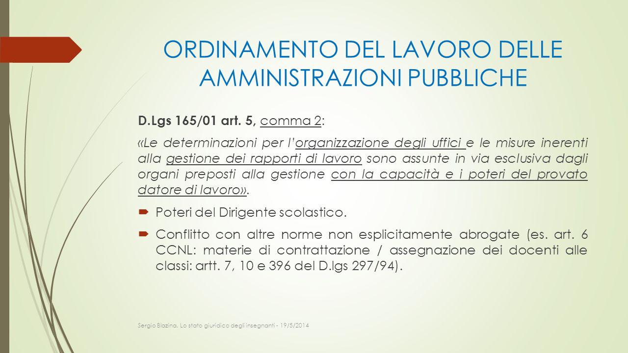ORDINAMENTO DEL LAVORO DELLE AMMINISTRAZIONI PUBBLICHE