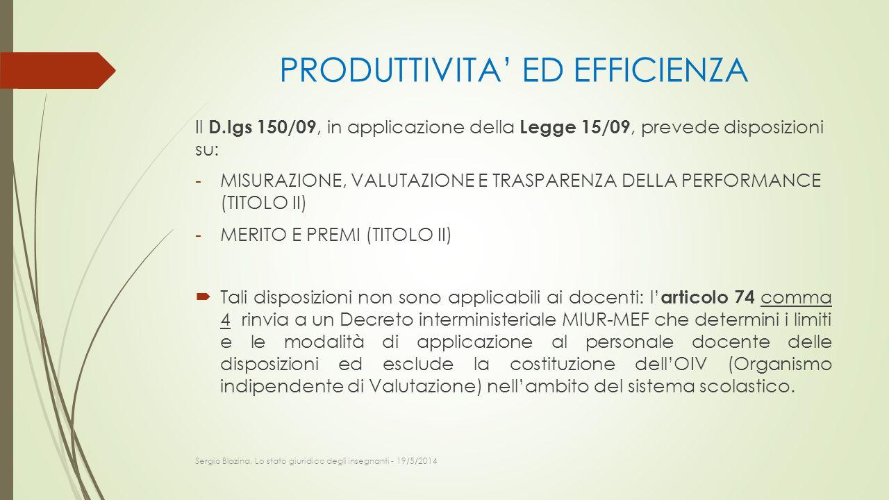 PRODUTTIVITA' ED EFFICIENZA