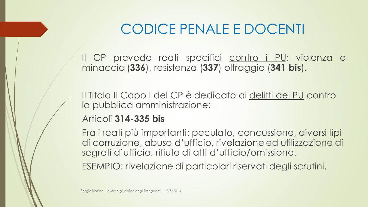 CODICE PENALE E DOCENTI