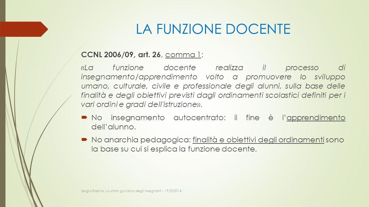 LA FUNZIONE DOCENTE CCNL 2006/09, art. 26, comma 1: