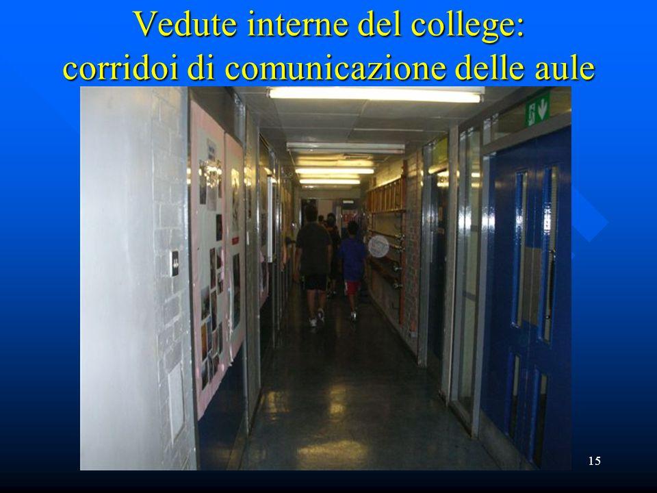 Vedute interne del college: corridoi di comunicazione delle aule