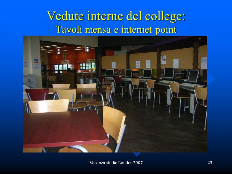 Vedute interne del college: Tavoli mensa e internet point