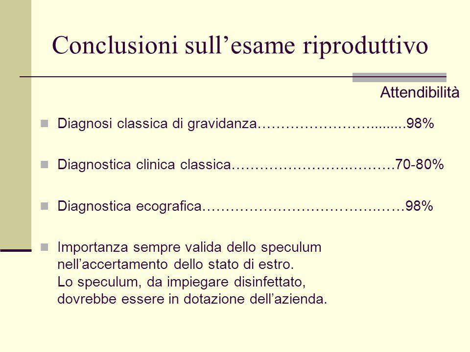 Conclusioni sull'esame riproduttivo