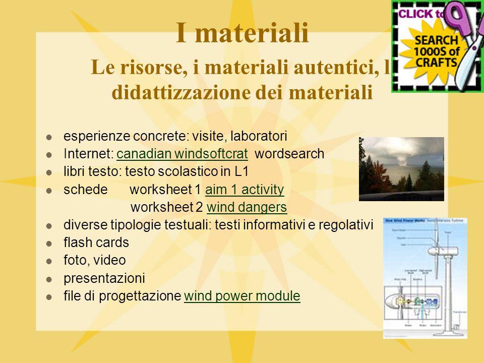 I materiali Le risorse, i materiali autentici, la didattizzazione dei materiali