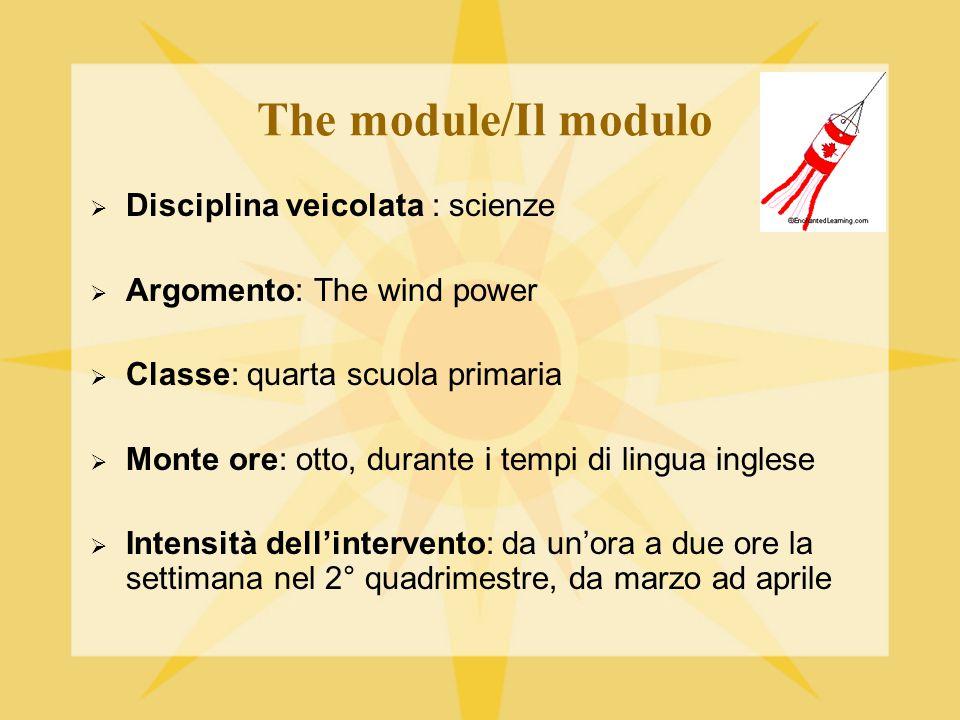 The module/Il modulo Disciplina veicolata : scienze