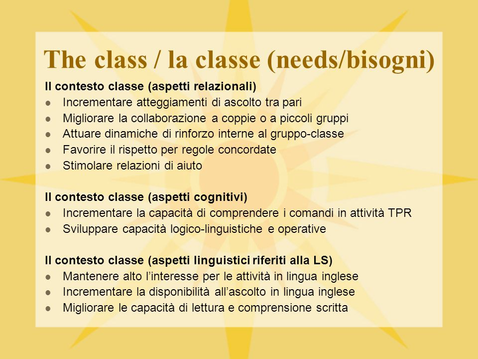 The class / la classe (needs/bisogni)