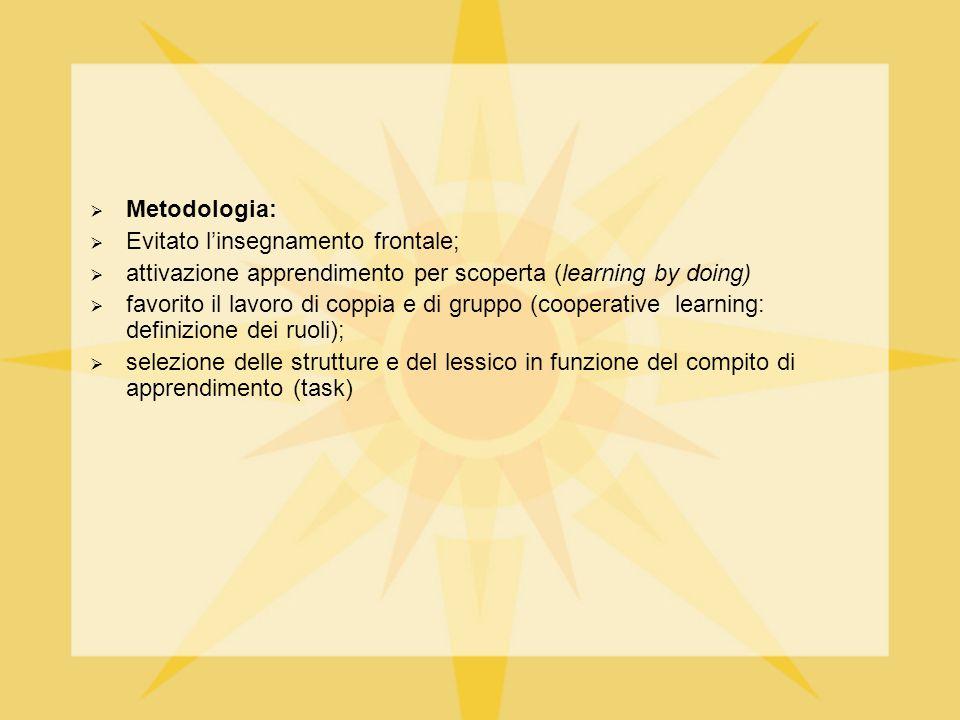 Metodologia: Evitato l'insegnamento frontale; attivazione apprendimento per scoperta (learning by doing)