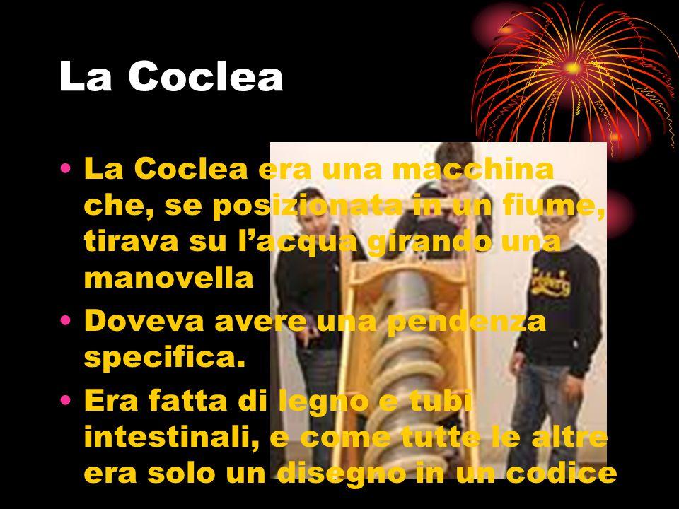 La Coclea La Coclea era una macchina che, se posizionata in un fiume, tirava su l'acqua girando una manovella.