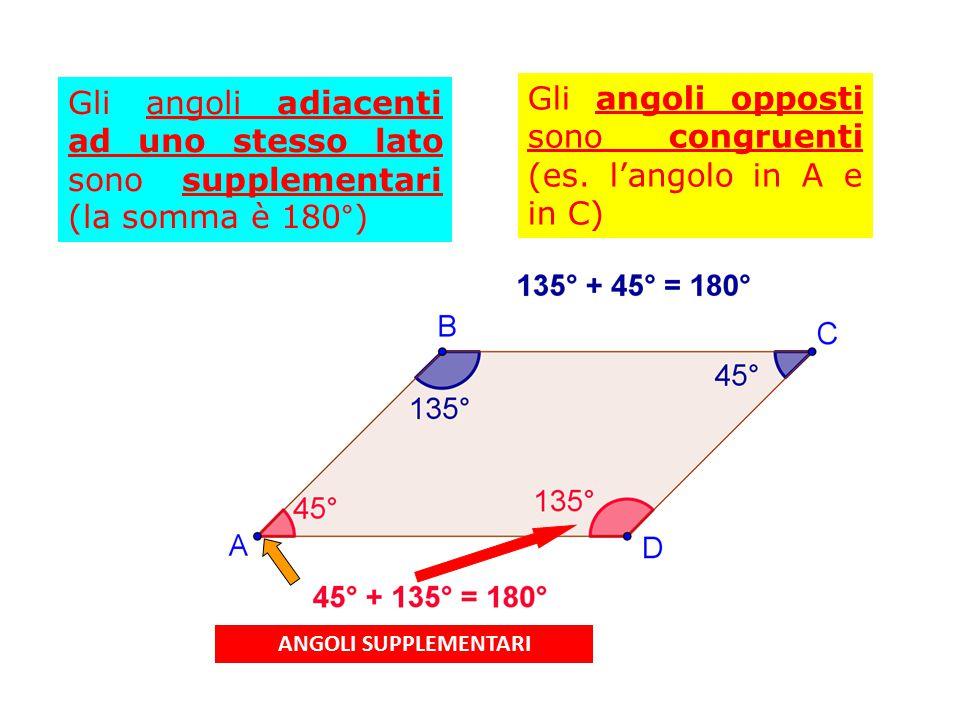 Gli angoli opposti sono congruenti (es. l'angolo in A e in C)