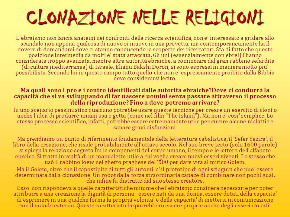 CLONAZIONE NELLE RELIGIONI