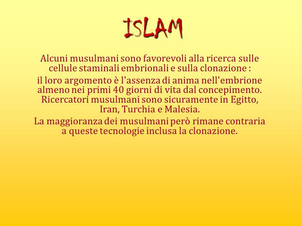 ISLAM Alcuni musulmani sono favorevoli alla ricerca sulle cellule staminali embrionali e sulla clonazione :