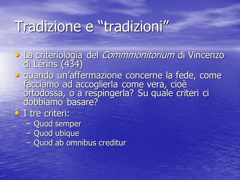 Tradizione e tradizioni