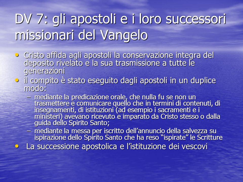 DV 7: gli apostoli e i loro successori missionari del Vangelo