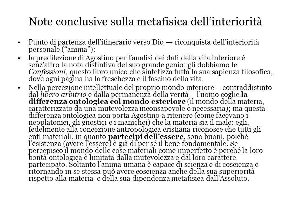 Note conclusive sulla metafisica dell'interiorità