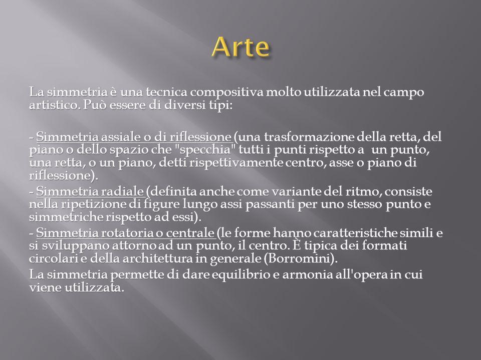 Arte La simmetria è una tecnica compositiva molto utilizzata nel campo artistico. Può essere di diversi tipi:
