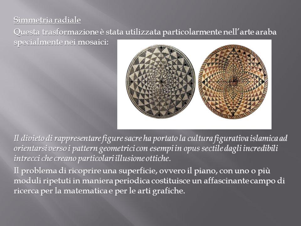 Simmetria radiale Questa trasformazione è stata utilizzata particolarmente nell'arte araba specialmente nei mosaici: