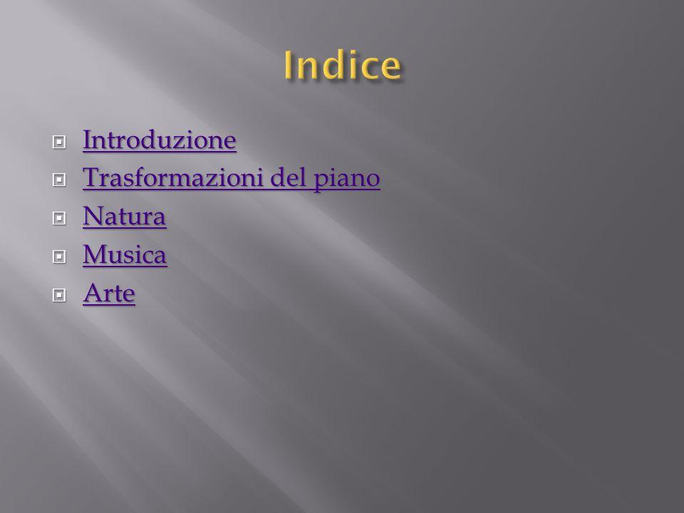 Indice Introduzione Trasformazioni del piano Natura Musica Arte
