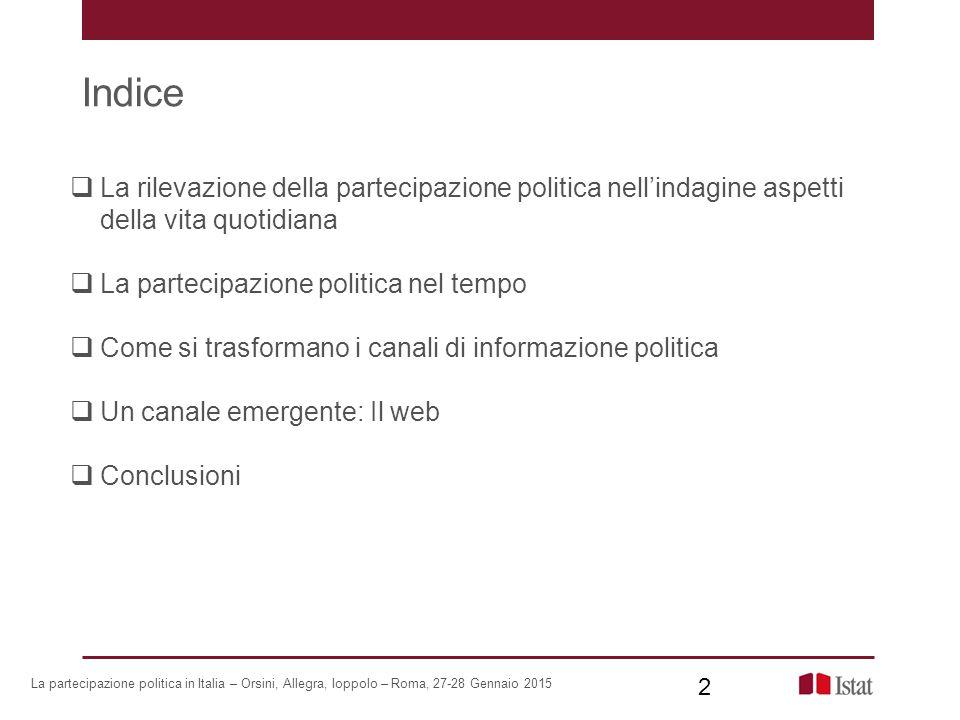 Indice La rilevazione della partecipazione politica nell'indagine aspetti della vita quotidiana. La partecipazione politica nel tempo.