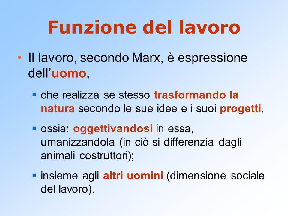 Funzione del lavoro Il lavoro, secondo Marx, è espressione dell'uomo,