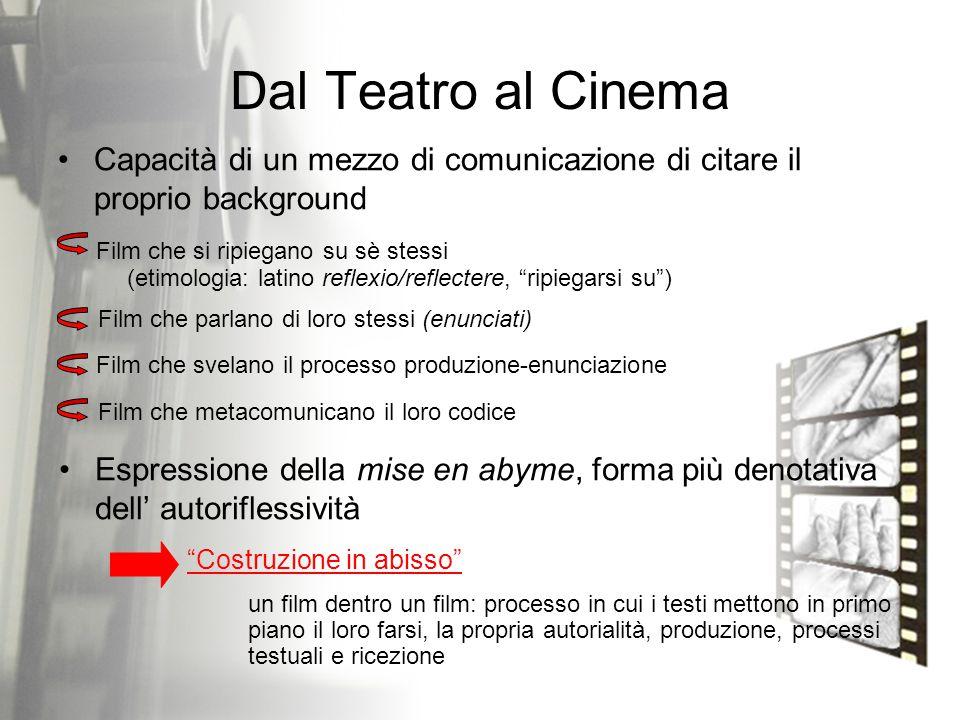 Dal Teatro al Cinema Capacità di un mezzo di comunicazione di citare il proprio background. Film che si ripiegano su sè stessi.