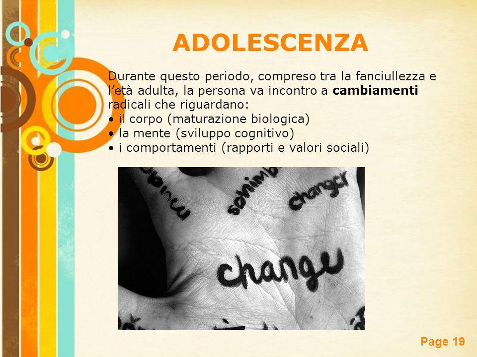 ADOLESCENZA Durante questo periodo, compreso tra la fanciullezza e l'età adulta, la persona va incontro a cambiamenti radicali che riguardano: