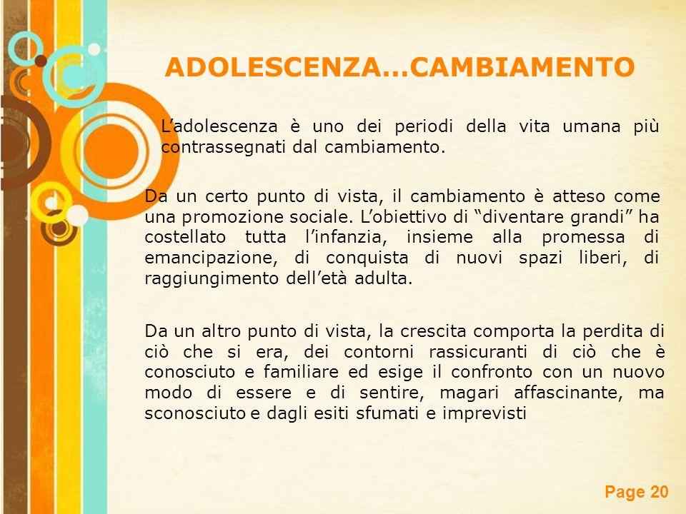 ADOLESCENZA…CAMBIAMENTO