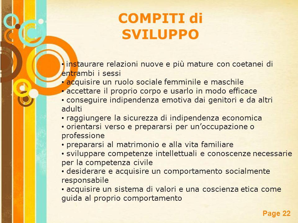COMPITI di SVILUPPO instaurare relazioni nuove e più mature con coetanei di entrambi i sessi. acquisire un ruolo sociale femminile e maschile.