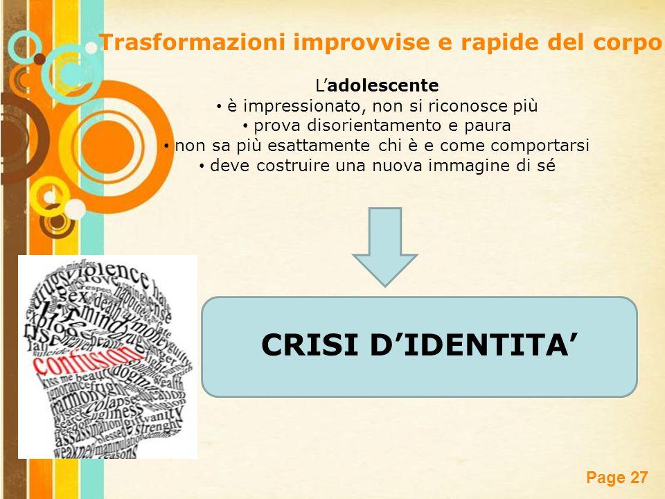 CRISI D'IDENTITA' Trasformazioni improvvise e rapide del corpo