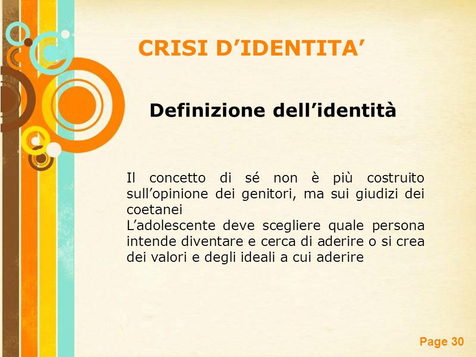 CRISI D'IDENTITA' Definizione dell'identità