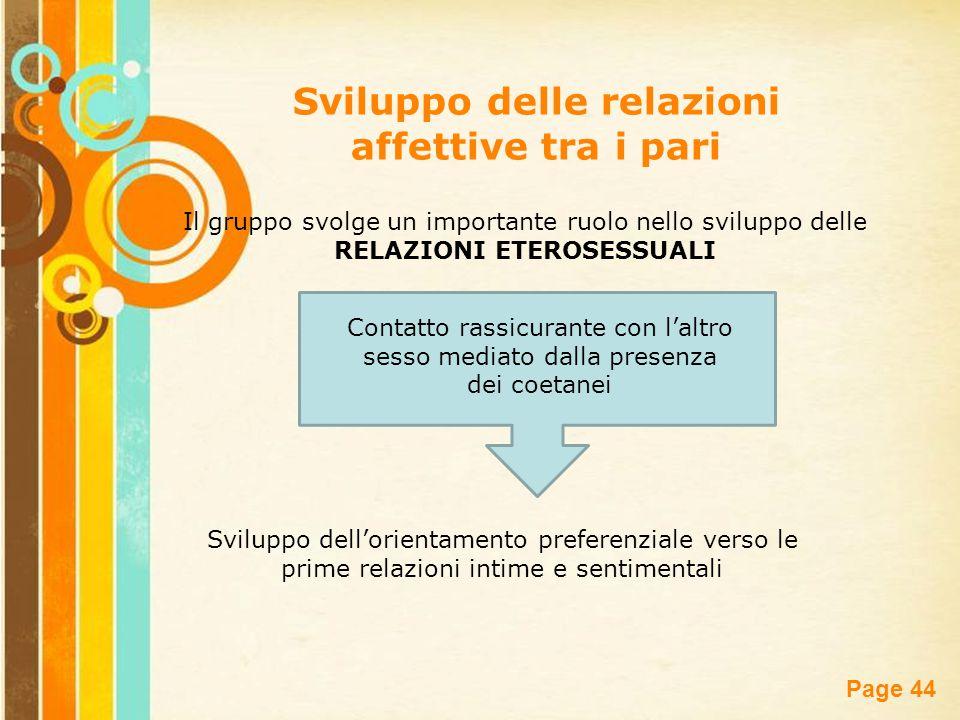 Sviluppo delle relazioni affettive tra i pari RELAZIONI ETEROSESSUALI