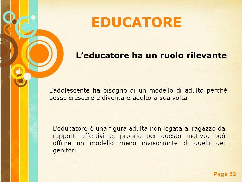 EDUCATORE L'educatore ha un ruolo rilevante