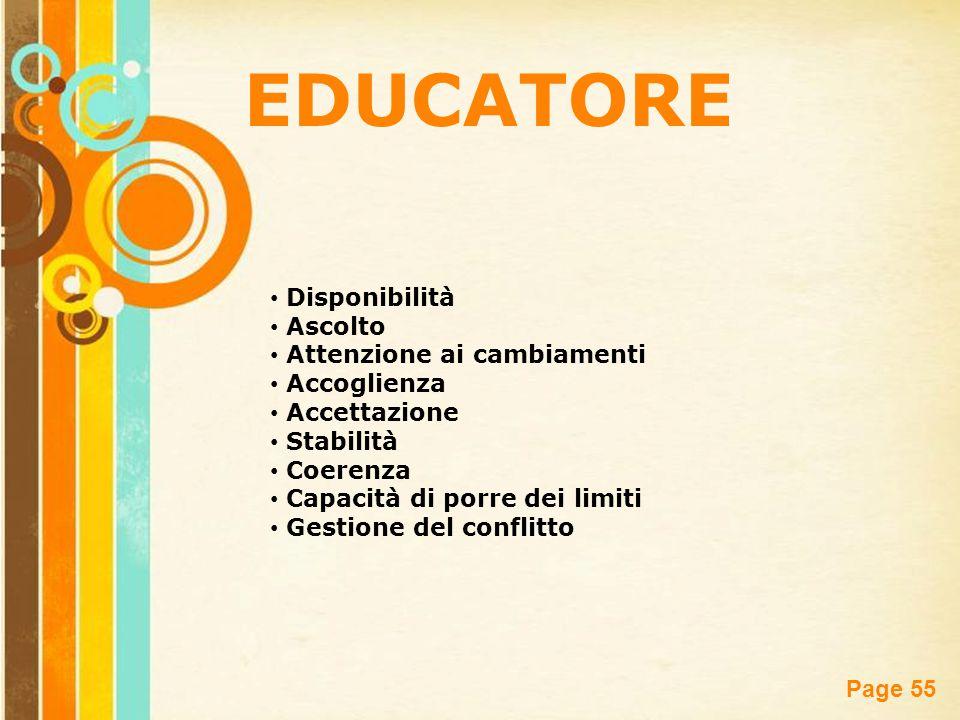 EDUCATORE Disponibilità Ascolto Attenzione ai cambiamenti Accoglienza