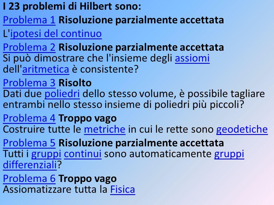 I 23 problemi di Hilbert sono: