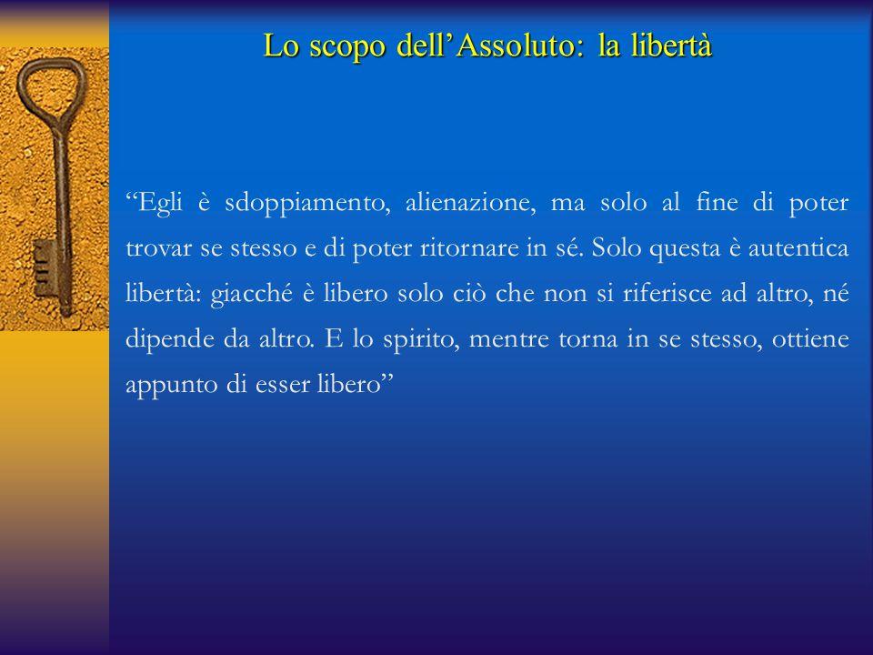 Lo scopo dell'Assoluto: la libertà