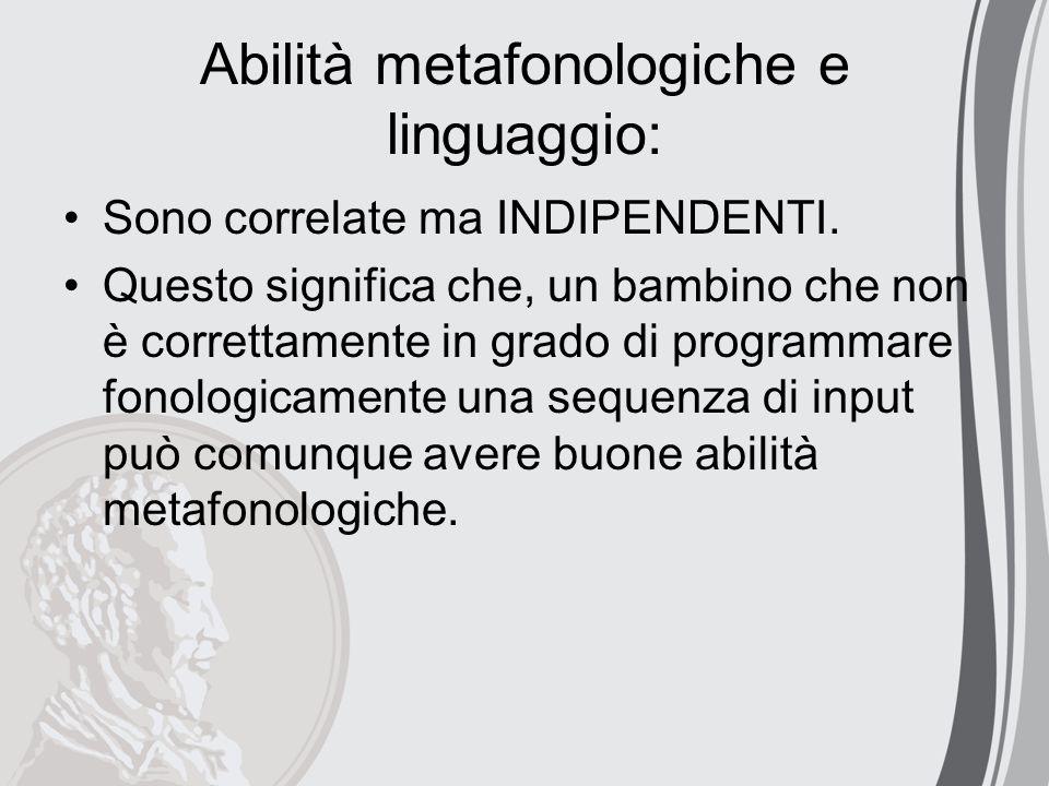 Abilità metafonologiche e linguaggio: