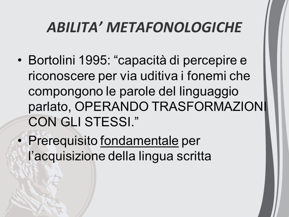 ABILITA' METAFONOLOGICHE