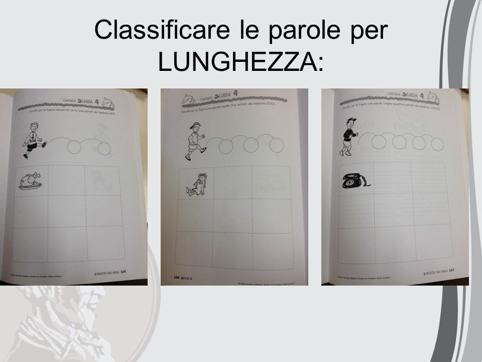 Classificare le parole per LUNGHEZZA: